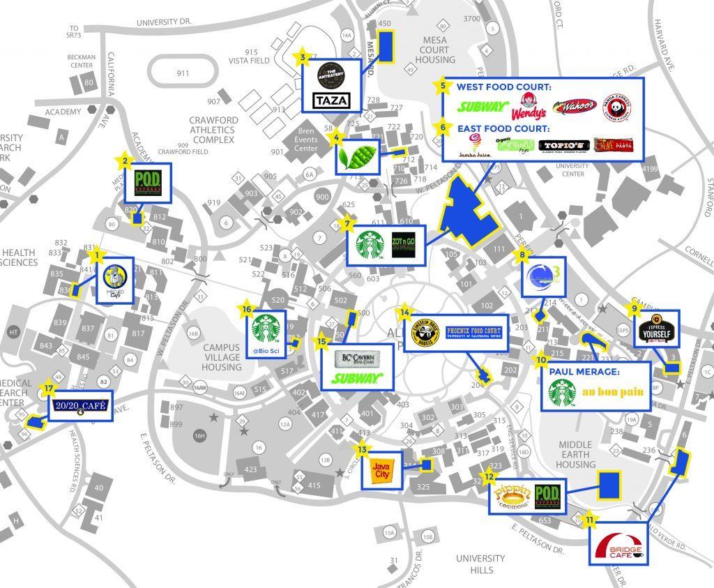 Dining Locations Uc Irvine Campus Map