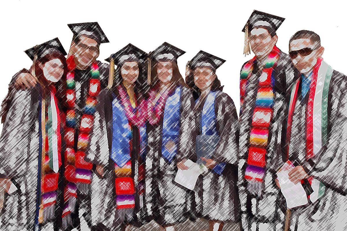 CLS undergrads in graduation attire